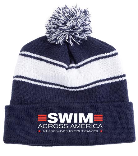 SAA - SwimOutlet Stripe Pom Pom Beanie