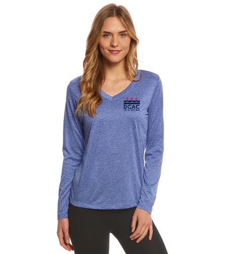 DCAC Women's V Neck Long Sleeve - SwimOutlet Women's Long Sleeve Tech T Shirt
