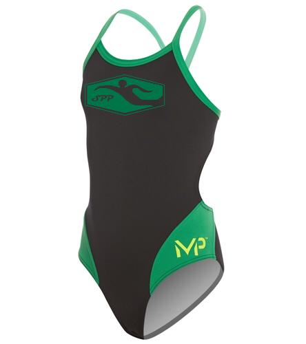 Nerdett fish - MP Michael Phelps Girls' Splice Mid Back One Piece Swimsuit