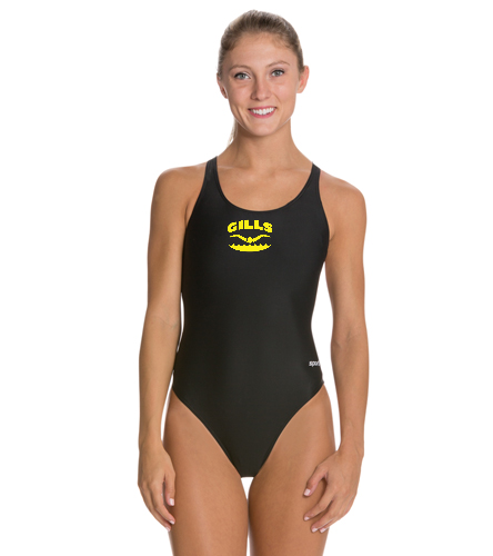 Gills  - Sporti Solid Wide Strap One Piece Swimsuit