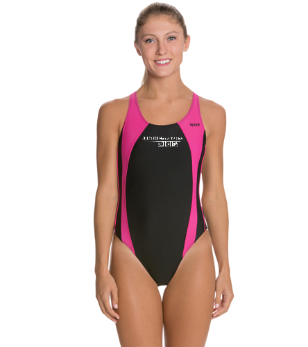 striped suit - Sporti Piped Splice Wide Strap One Piece Swimsuit