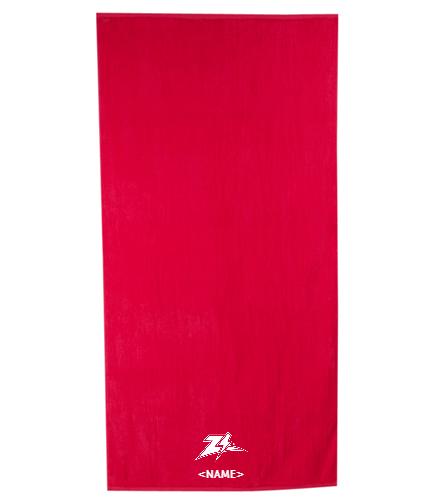 Personalized Zizzer Towel  - Royal Comfort Terry Velour Beach Towel 32 X 64