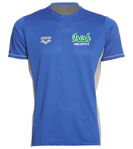 Irish Aquatics Royal  - Arena Men's Team Line Crew Neck Short Sleeve Tech T Shirt