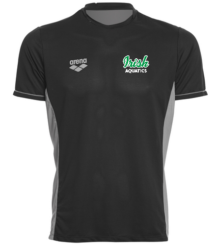 Irish Aquatics Black - Arena Men's Team Line Crew Neck Short Sleeve Tech T Shirt