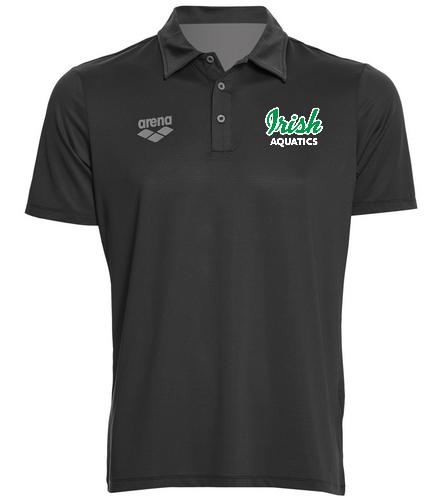Irish Aquatics Black  - Arena Unisex Team Line Tech Short Sleeve Polo