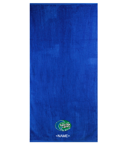 Westside Waves Swim Team - Royal Comfort Terry Velour Beach Towel 32 X 64