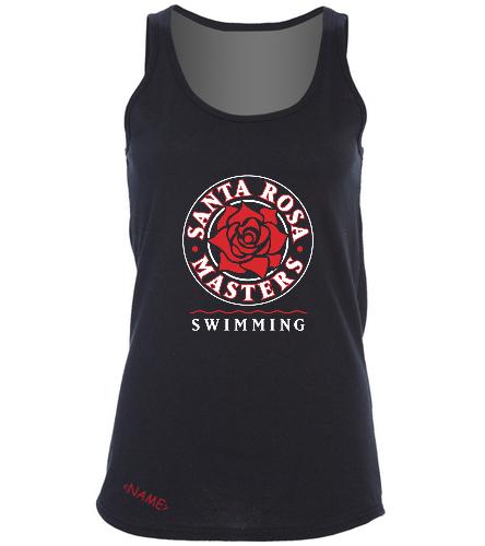 SRM Ladies Cotton Tank Black - SwimOutlet Women's Cotton Racerback Tank Top