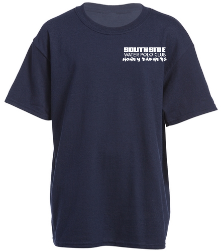 2019 Back Logo Navy  - SwimOutlet Youth Cotton Crew Neck T-Shirt