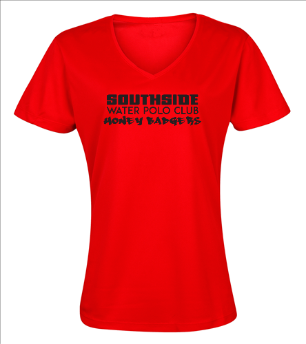 2019 Back Logo Red - SwimOutlet Women's Cotton V-Neck T-Shirt