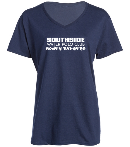2019 Back Logo Navy  - SwimOutlet Women's Cotton V-Neck T-Shirt