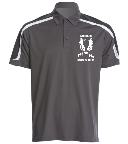 2019 Gray Honey Badger with Text  - SwimOutlet Men's Tech Polo