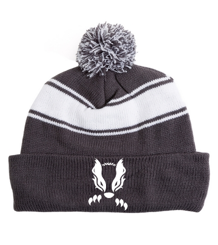 2019 Gray Honey Badger  - SwimOutlet Stripe Pom Pom Beanie