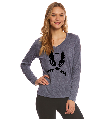 2019 Navy with Black Honey Badger  - SwimOutlet Women's Long Sleeve Tech T Shirt