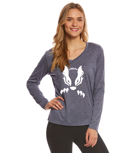 2019 Navy with White Honey Badger  - SwimOutlet Women's Long Sleeve Tech T Shirt