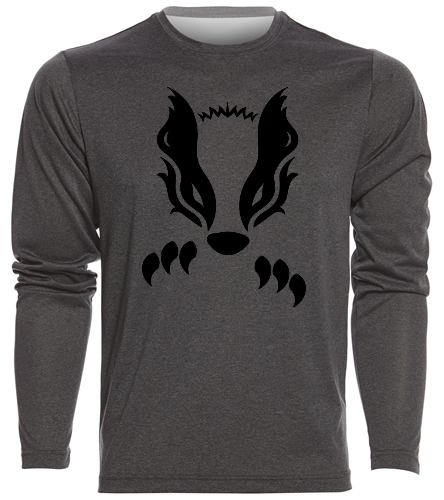 2019 Gray with Black Honey Badger  - SwimOutlet Men's Long Sleeve Tech T Shirt