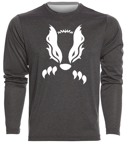 2019 Gray with White Honey Badger  - SwimOutlet Men's Long Sleeve Tech T Shirt
