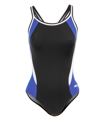 WRA SWIM   - Dolfin Women's Chloroban Color Block DBX Back One Piece Swimsuit