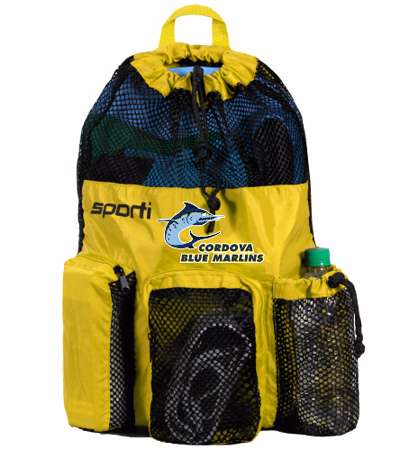 Cordova Blue Marlins - Sporti Mesh Bag - Yellow with Logo Only - Sporti Equipment Mesh Backpack