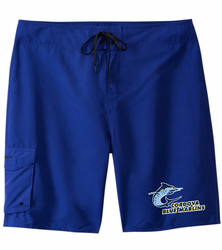 Cordova Blue Marlins Board Shorts with Logo - Sporti Men's Essential Board Short