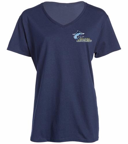 Cordova Blue Marlins Ladies V-Neck Tee - Logo Only - SwimOutlet Women's Cotton V-Neck T-Shirt