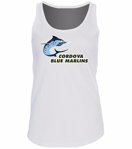 Cordova Blue Marlins - SwimOutlet Women's Cotton Racerback Tank Top