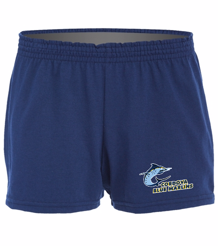 Cordova Blue Marlins Ladies Jersey Short - Logo Only - SwimOutlet Custom Women's Fitted Jersey Short