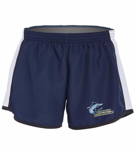 Cordova Blue Marlins Ladies Shorts - Logo Only - SwimOutlet Custom Unisex Team Pulse Short