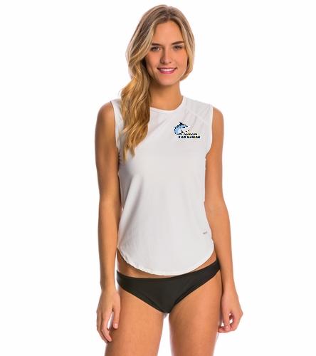 Cordova Blue Marlins Ladies Sport Fit Rash Guard Tank - Logo Only - Sporti Women's Solid Sleeveless UPF 50+ Sport Fit Rash Guard