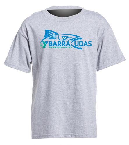 MIdYBaracudas youth tshirt- grey  - SwimOutlet Youth Cotton Crew Neck T-Shirt