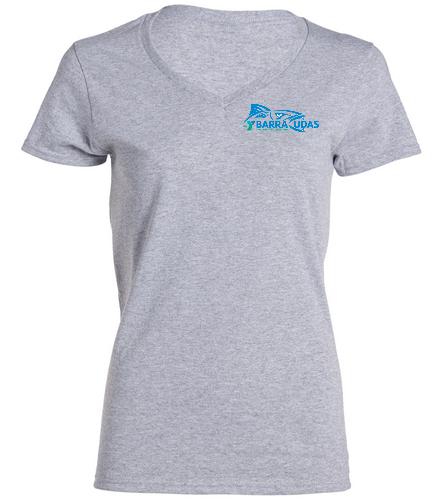 MidYBaracudas Grey - SwimOutlet Women's Cotton V-Neck T-Shirt