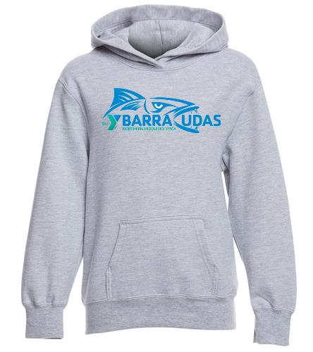 MIdYBarracudas Hoodie Grey  - SwimOutlet Youth Fan Favorite Fleece Pullover Hooded Sweatshirt
