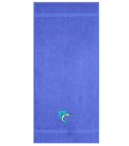 Sailfish Swim Club - Light Blue - Royal Comfort Terry Cotton Beach Towel 32 x 64