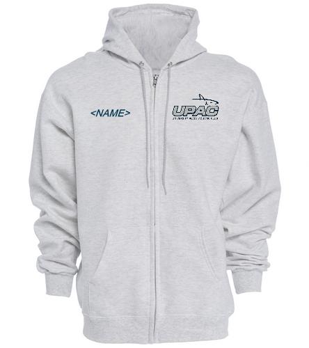 UPAC Grey Full Zip Hoodie - SwimOutlet Unisex Adult Full Zip Hoodie