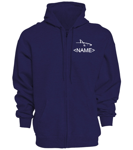 Full Zip Hoodie, Navy w/ name - SwimOutlet Unisex Adult Full Zip Hoodie