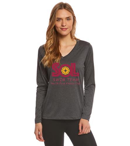 Dark Grey Long Sleeve - SwimOutlet Women's Long Sleeve Tech T Shirt