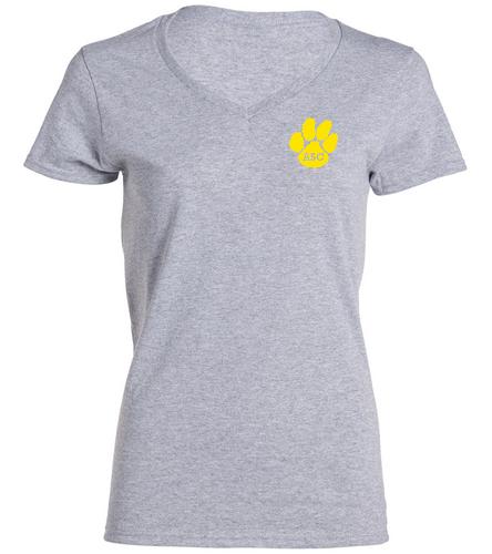 ASC Female V-neck grey - SwimOutlet Women's Cotton V-Neck T-Shirt