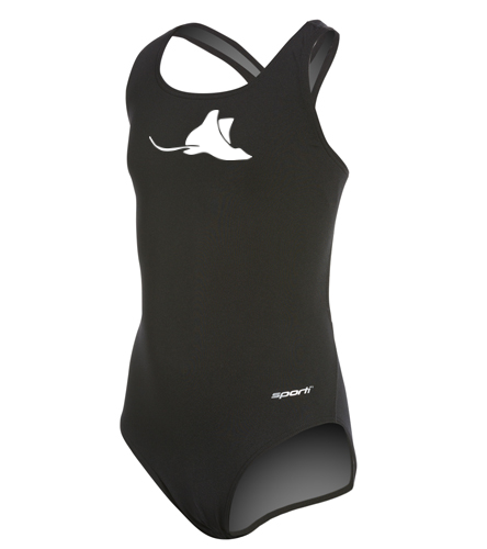 Manta Rays Team Suit-Girls Youth Sporti  - Sporti Poly Pro Solid Wide Strap One Piece Swimsuit Youth (22-28)