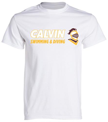 Calvin T White/Gold - SwimOutlet Unisex Cotton Crew Neck T-Shirt