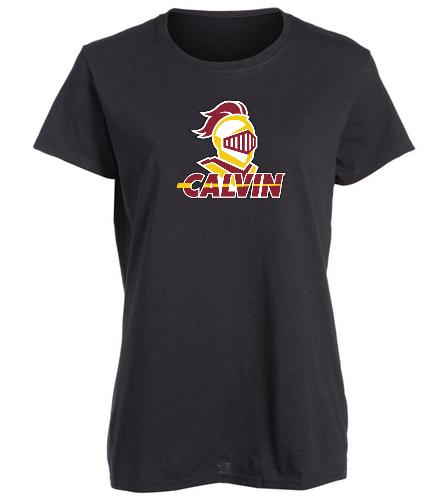 Calvin Black Women's Team Shirt - SwimOutlet Women's Cotton Missy Fit T-Shirt