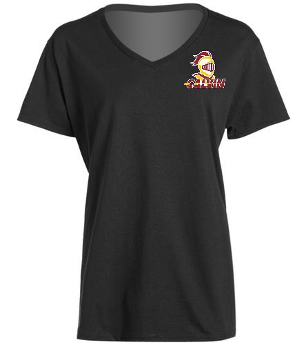 Calvin Women's Black V-Neck - SwimOutlet Women's Cotton V-Neck T-Shirt