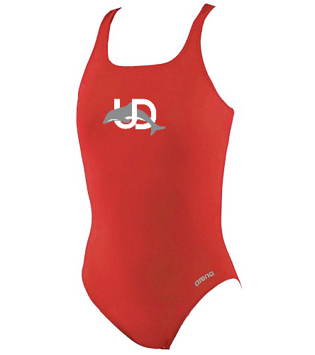 UD Logo Arena Girls' Thick Strap Suit - Arena Girls' Madison Athletic Thick Strap Racer Back One Piece Swimsuit