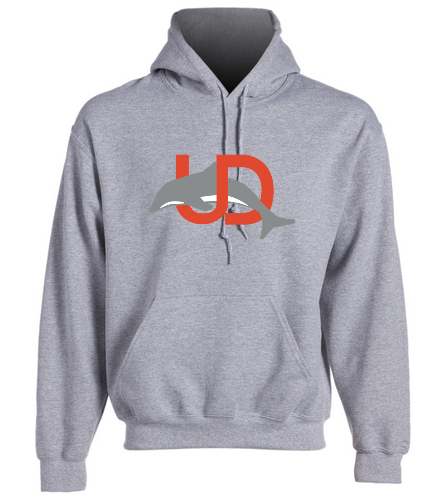UD Logo Gray Hoodie - SwimOutlet Heavy Blend Unisex Adult Hooded Sweatshirt