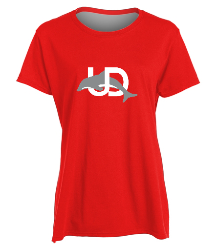 UD Logo Red Ladies tee - SwimOutlet Women's Cotton Missy Fit T-Shirt