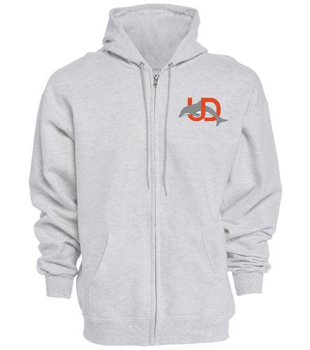 UD Logo Adult Zip Hoodie - gray - SwimOutlet Unisex Adult Full Zip Hoodie