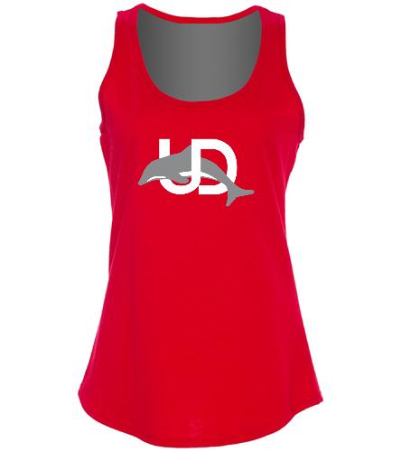 UD Logo Ladies Tank - red - SwimOutlet Women's Cotton Racerback Tank Top