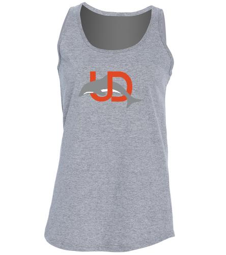 UD Logo Ladies Tank - gray - SwimOutlet Women's Cotton Racerback Tank Top