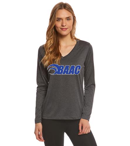 Black Heather Long Sleeve Woman's Tee - SwimOutlet Women's Long Sleeve Tech T Shirt