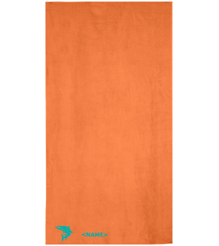 Orange-blue-fish - Royal Comfort Terry Velour Beach Towel 32 X 64
