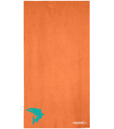 Towel-Blue Fish - Royal Comfort Terry Velour Beach Towel 32 X 64