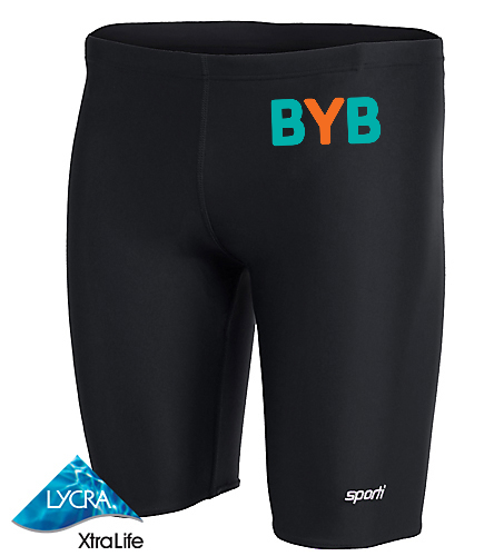 Jammer-BYB-hip-blue-fish - Sporti Solid Compression Jammer Swimsuit